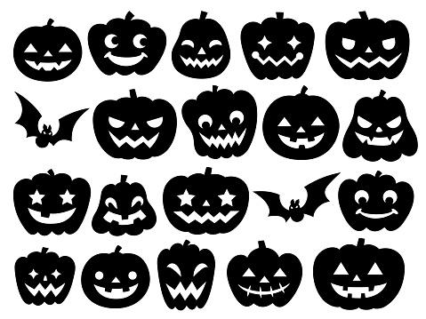 Silhouette illustration of many Jack O'Lanterns for Halloween