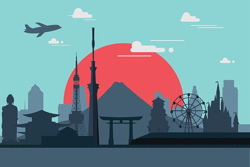 Silhouette illustration of Tokyo city in Japan.Japan landmarks F