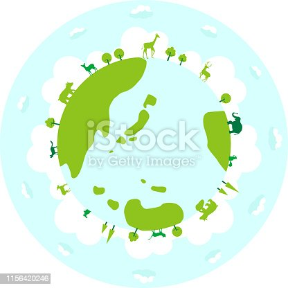 silhouette illustration of  wild animals on the earth,in the meadow and forest