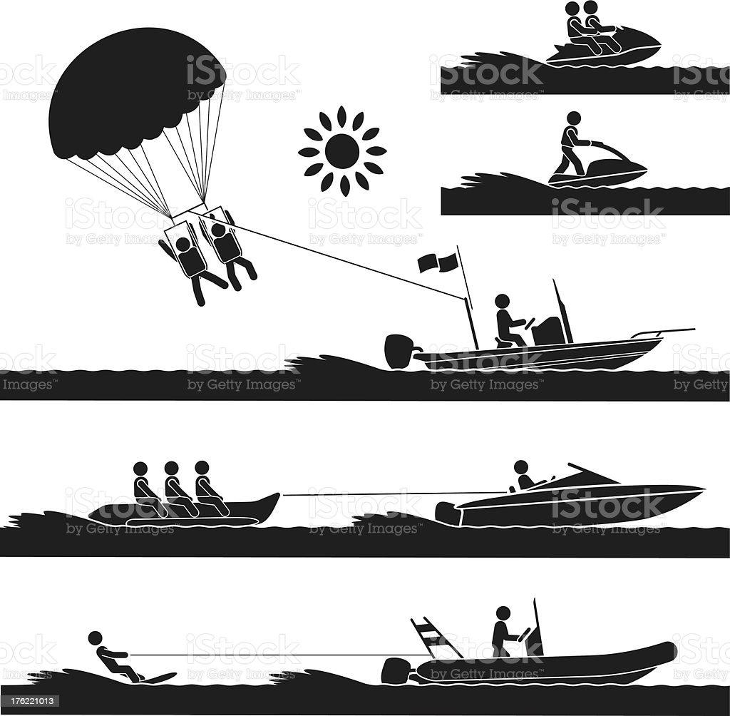 Silhouette illustrations of water sport varieties vector art illustration