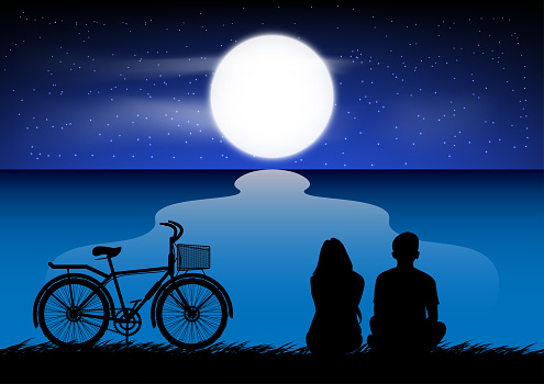 silhouette image A couple man and women sitting at the beach with Moon in the sky at night time design vector illustration