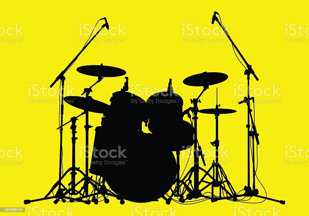 Silhouette image of a drum kit on a yellow background royalty-free stock vector art