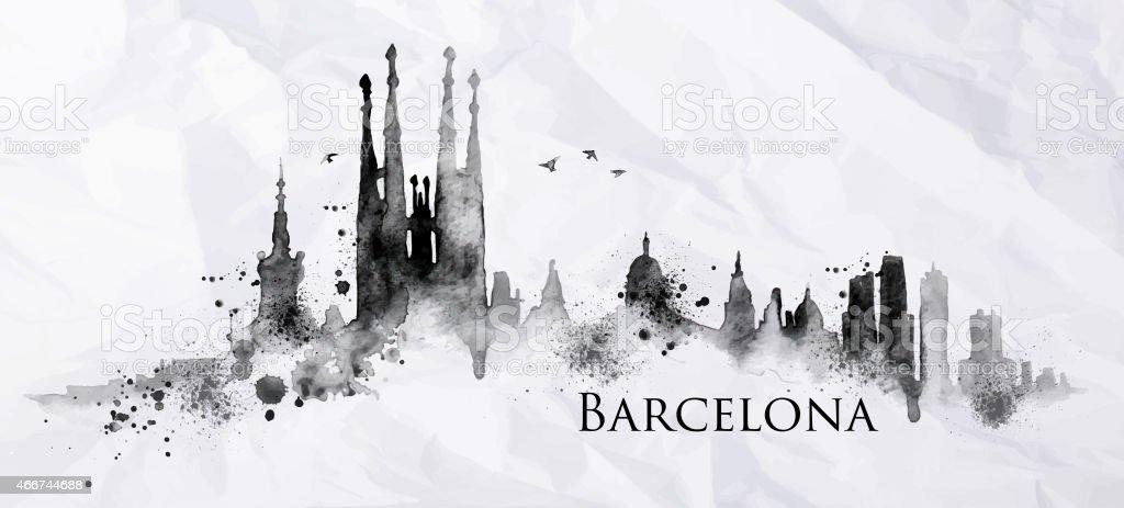 Silueta de tinta Barcelona - ilustración de arte vectorial