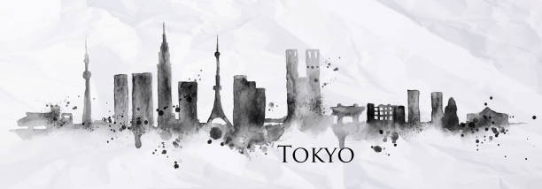 Silhouette ink Tokyo Silhouette of Tokyo city painted with splashes of ink drops streaks landmarks drawing in black ink on crumpled paper. tokyo stock illustrations
