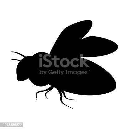 Silhouette insect with wings icon. Black simple illustration of fly, bee, wasp. Flat isolated vector image on white background