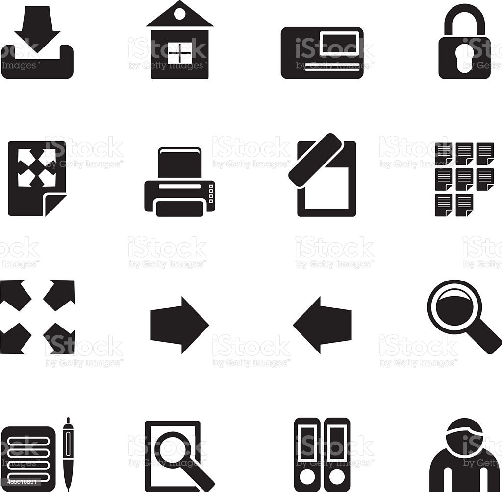 Silhouette Internet and Web Site Icons royalty-free stock vector art