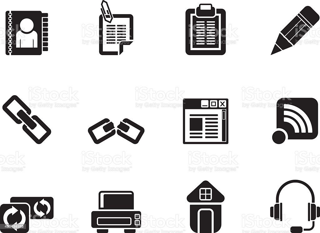 Silhouette internet and website icons vector art illustration