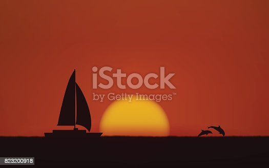 Silhouette jumping dolphin and sailboat in flat icon design with sunset sky background