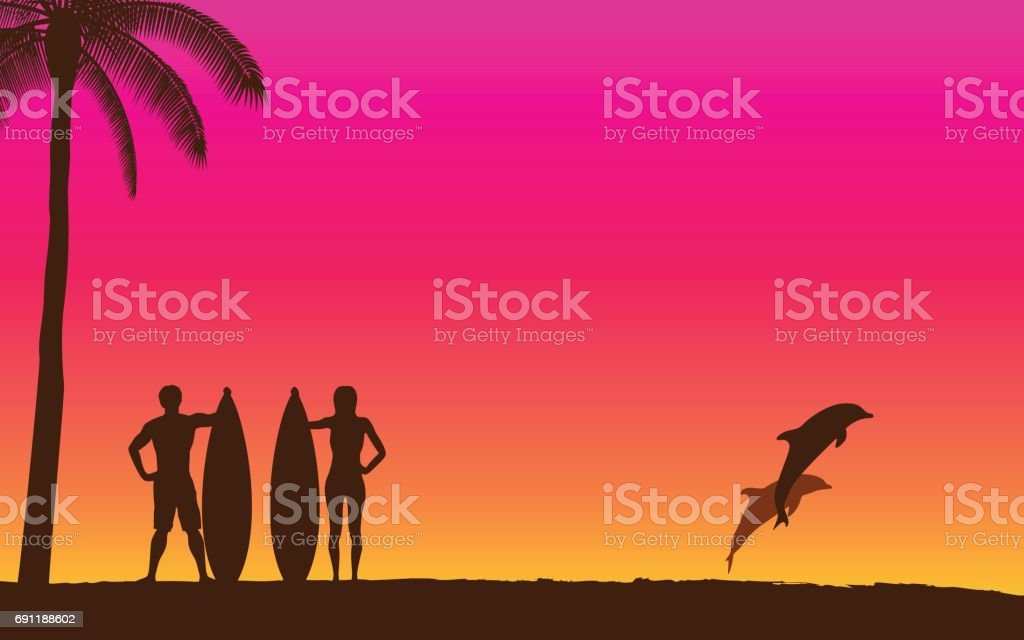 Silhouette jumping dolphin and surfer carrying surfboard on beach with sunset sky background vector art illustration