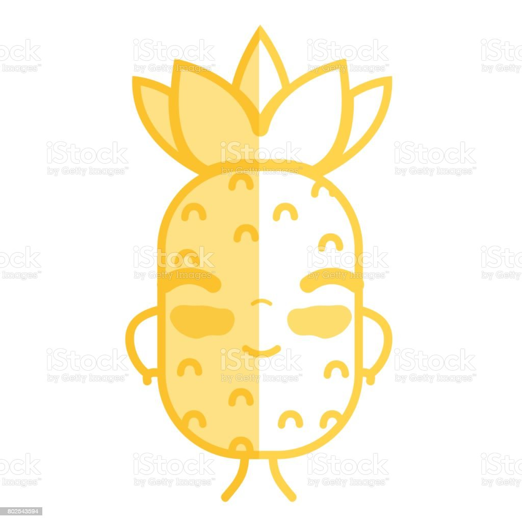 Silhouette Kawaii Cute Happy Pineapple Fruit Immagini Vettoriali