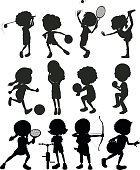 Silhouette kids playing sports illustration