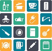 Silhouette kitchen objects and accessories icons