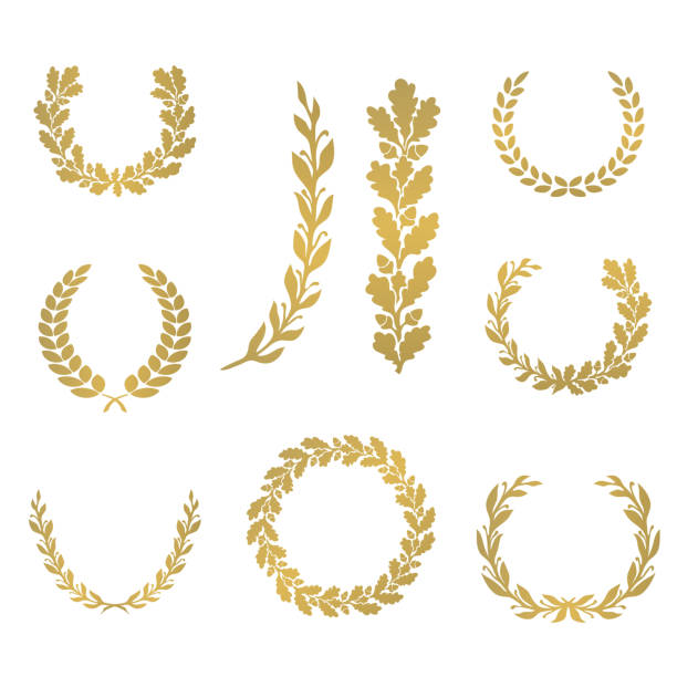 Silhouette laurel and oak wreaths in different  shapes Silhouette laurel and oak wreaths in different  shapes - half circle, circle, branch bay tree stock illustrations