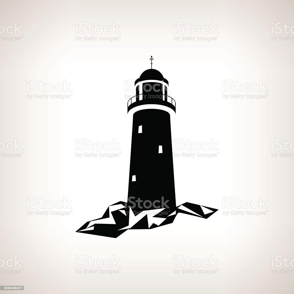 Silhouette lighthouse on a light background , vector illustration vector art illustration