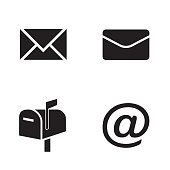 Vector icon set: simple flat black mail icons - envelopes, mailbox, mail symbol