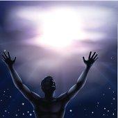 Silhouette man arms raised