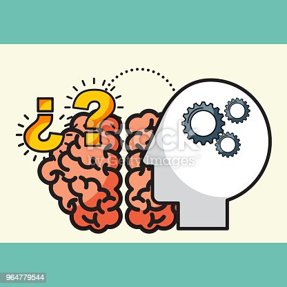 Silhouette Man Brain Creative Idea Questions Stock Vector Art & More Images of Abstract 964779544