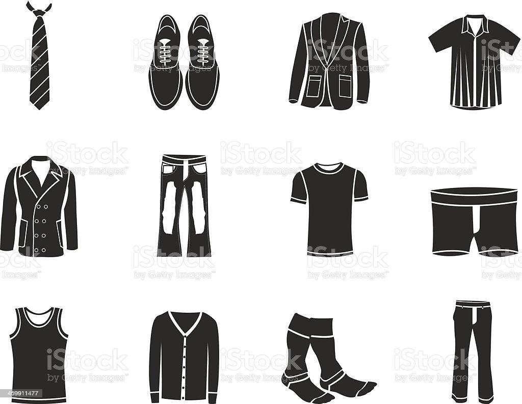 Силуэт человек моды и одежды иконки Силуэт человек моды и одежды иконки —  стоковая векторная графика 76082cb407b