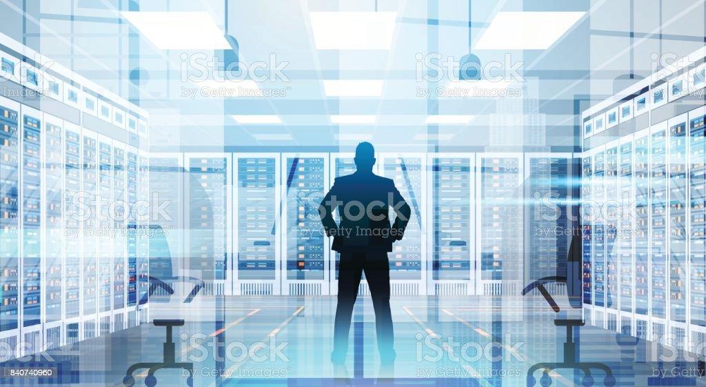 Silhouette Man In Data Center Room Hosting Server Computer Information Database vector art illustration