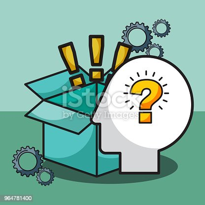 Silhouette Man Question Exclamations Box Stock Vector Art & More Images of Adult 964781400