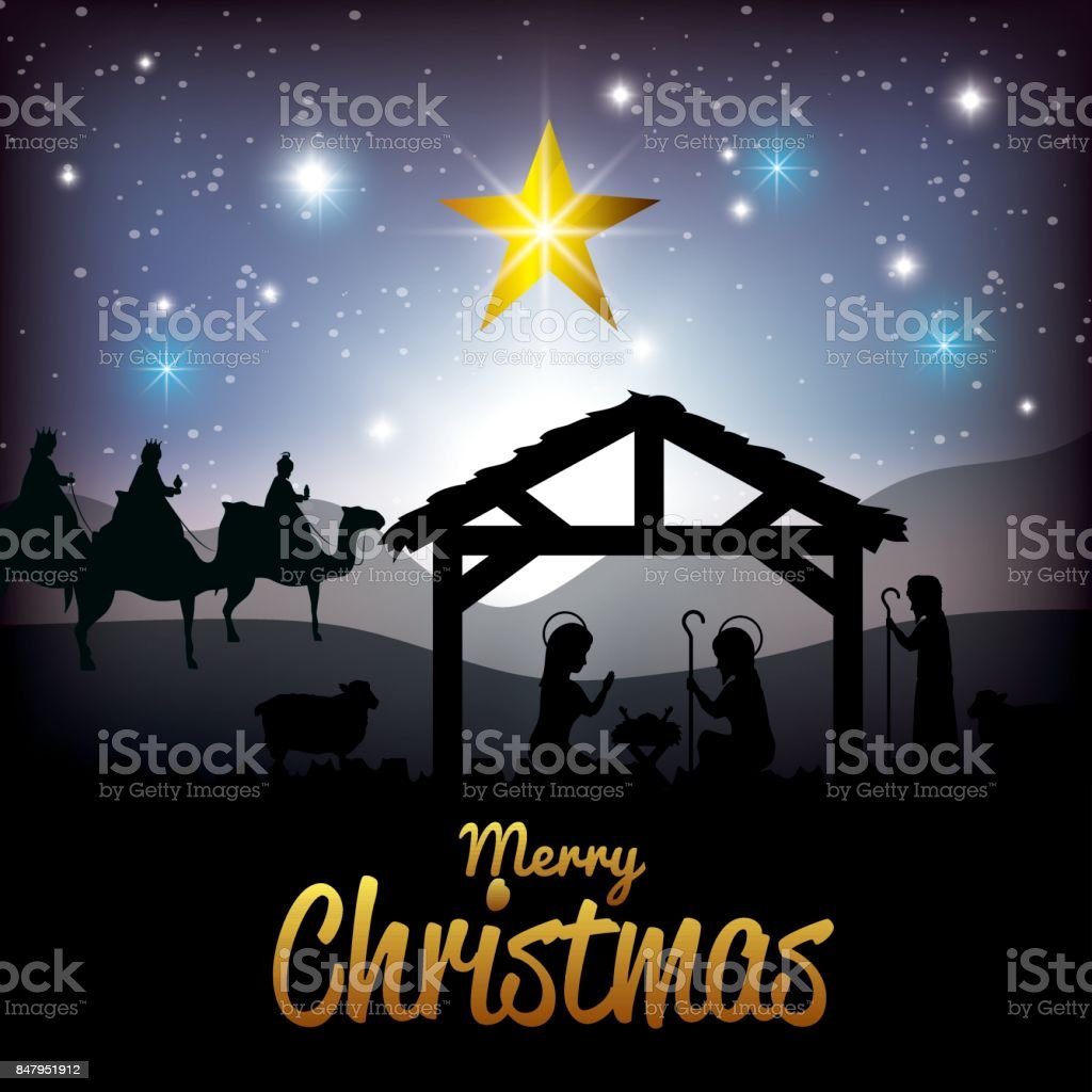 Silhouette Krippe Frohe Weihnachten Designdesign Stock Vektor Art ...