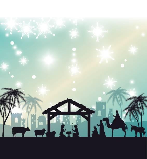 silhouette manger merry christmas design design silhouette manger merry christmas design design vector illustration eps 10 nativity silhouette stock illustrations