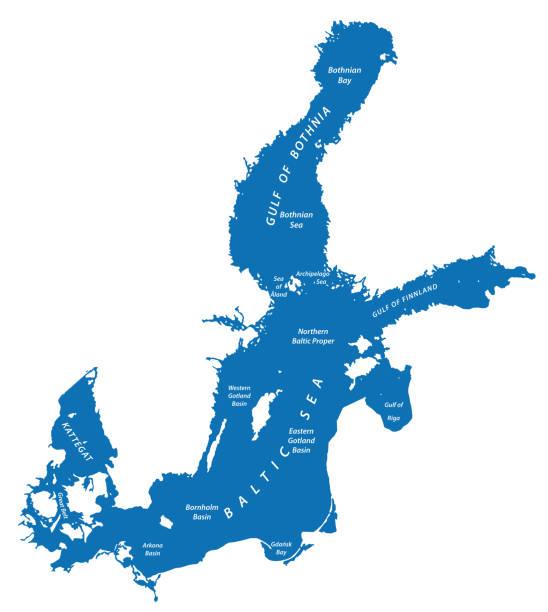 silhouette natalage des baltischen meeres in nordeuropa - ostsee stock-grafiken, -clipart, -cartoons und -symbole