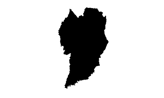 silhouette map of the city of Curitiba in Brazil
