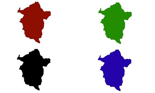 silhouette map of the city of Enugu in Nigeria