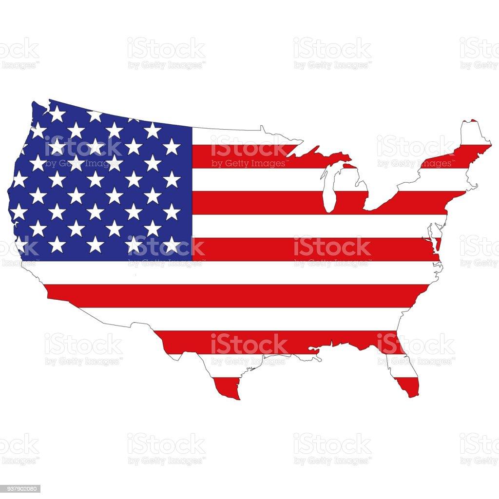 Mapa de la silueta de los Estados Unidos de América - ilustración de arte vectorial