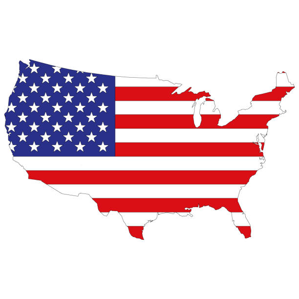 silhouette map of the united states of america - us flag stock illustrations