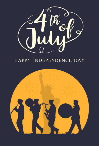 silhouette marching band parade with liberty statue as a background with text 4th july, vector - happy 4th of july stock illustrations