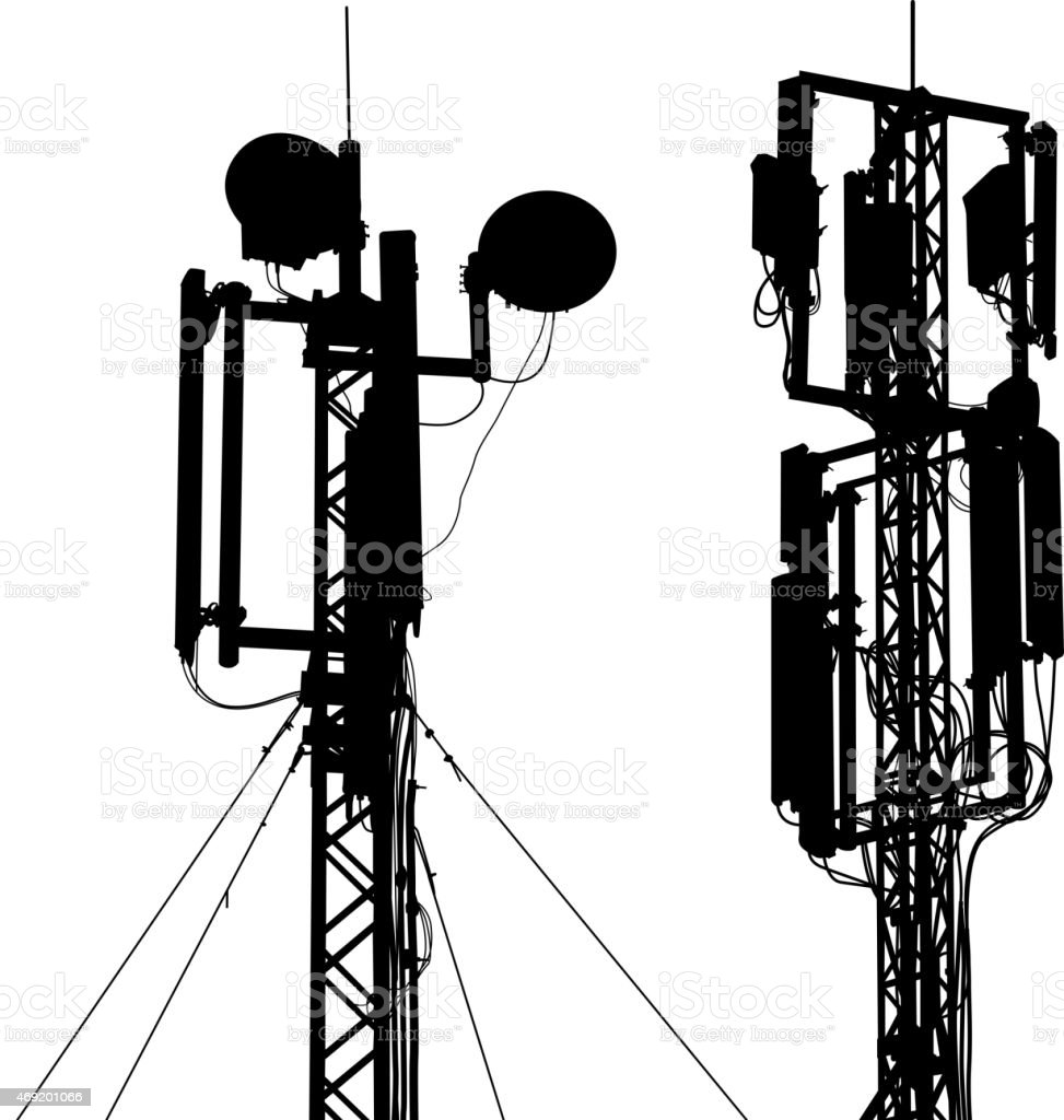 Silhouette mast antenna mobile communications.