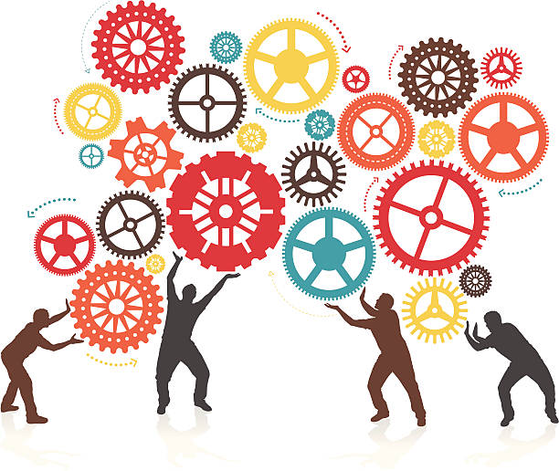 Silhouette Men turning and Pushing Cogs vector art illustration