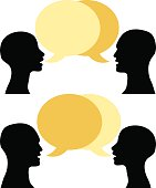 a conversation between two people, vector illustration