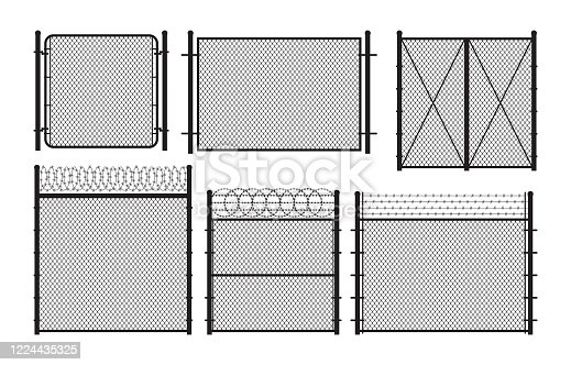 Silhouette metal wire fences and gates set. Vector illustration.