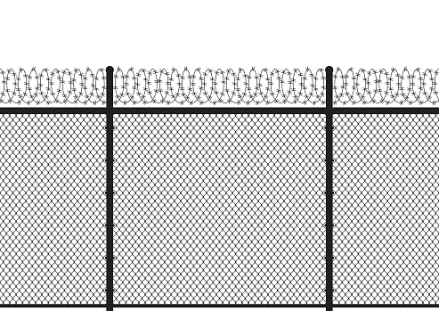 Silhouette metal wire fences with barb backround. Seamless pattern. Vector illustration.