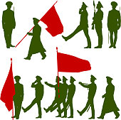 Silhouette  military people  with flags