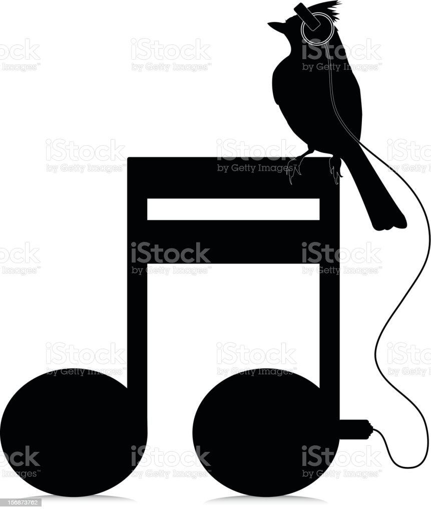 silhouette mohawk bird with headphones on a music note stock