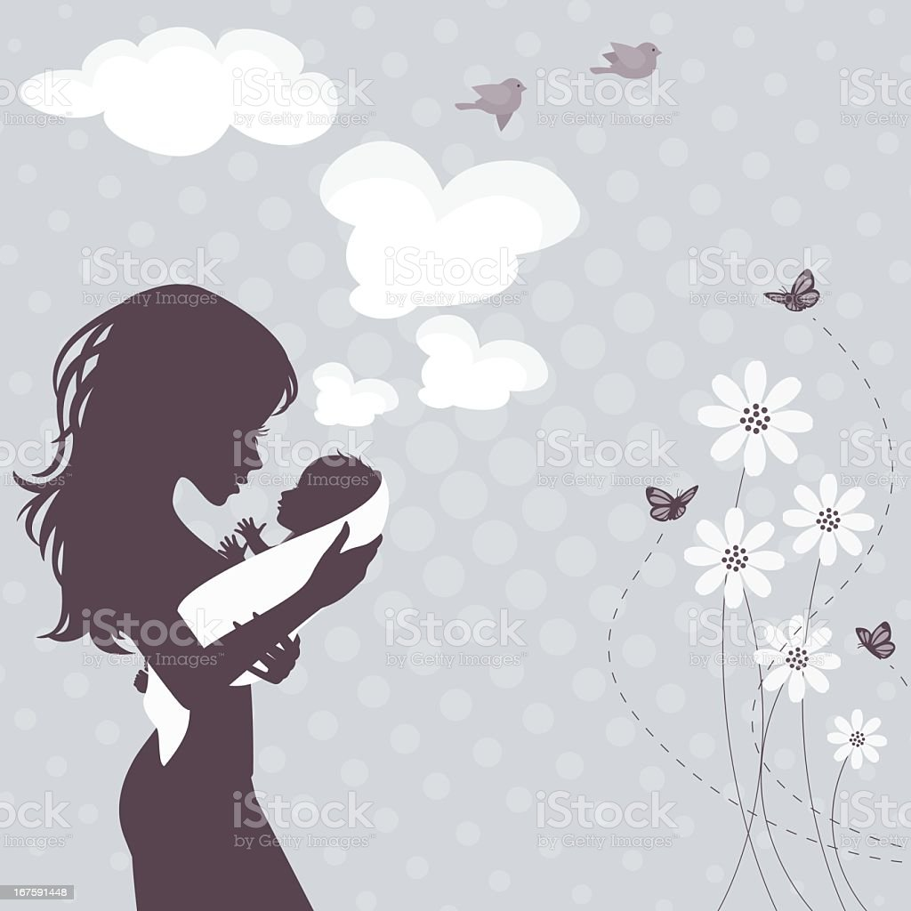 Silhouette Mom and Baby vector art illustration
