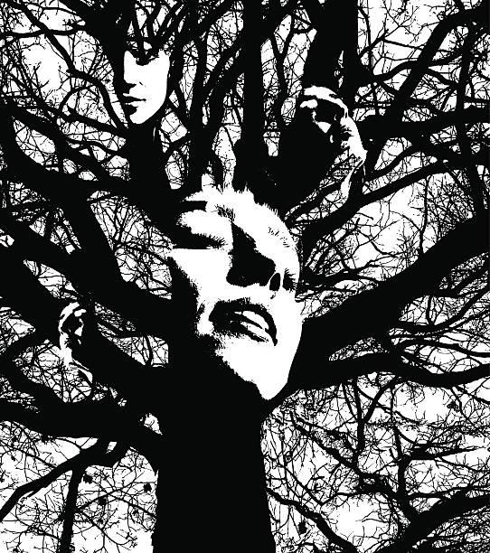 illustrazioni stock, clip art, cartoni animati e icone di tendenza di silhouette montaggio di una donna viso e quercia - woman portrait forest