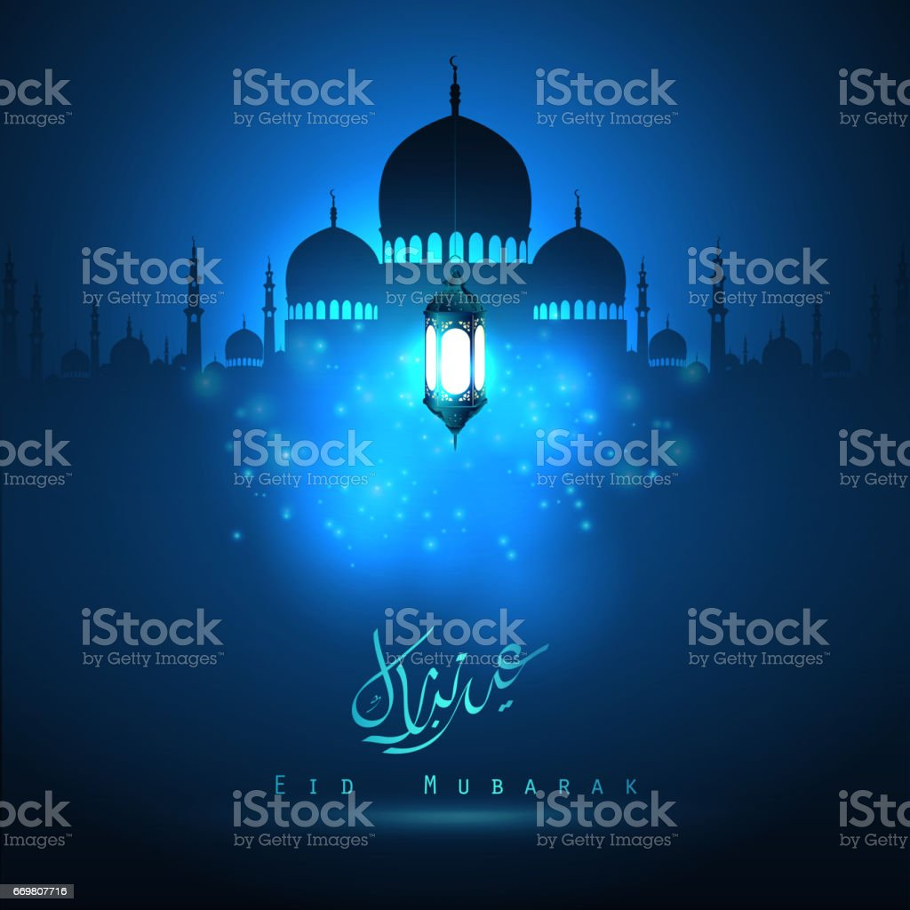 Silhouette mosque with on illuminated by the lights vector art illustration