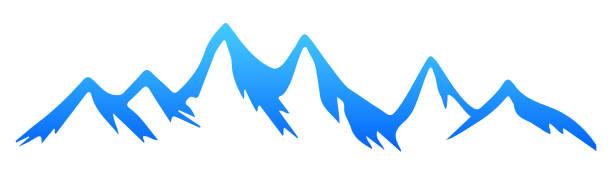 illustrazioni stock, clip art, cartoni animati e icone di tendenza di silhouette mountain – for stock - monte bianco
