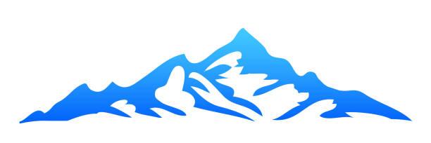 illustrazioni stock, clip art, cartoni animati e icone di tendenza di silhouette mountain on white background – stock vector - monte bianco