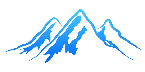 illustrazioni stock, clip art, cartoni animati e icone di tendenza di silhouette mountain on white background – vector - monte bianco