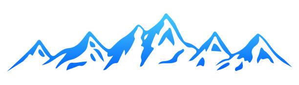 illustrazioni stock, clip art, cartoni animati e icone di tendenza di silhouette  mountain – stock vector - monte bianco