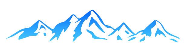illustrazioni stock, clip art, cartoni animati e icone di tendenza di silhouette  mountain – vector - monte bianco