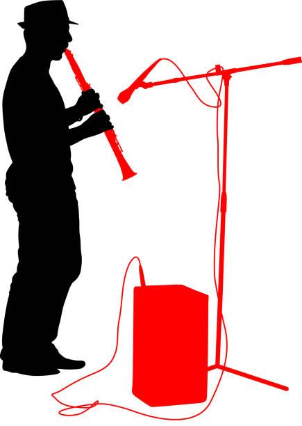 sylwetka muzyk gra na klarnet.  ilustracja wektorowa. - klarnet stock illustrations