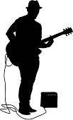 Silhouette musician plays the guitar on a white background.