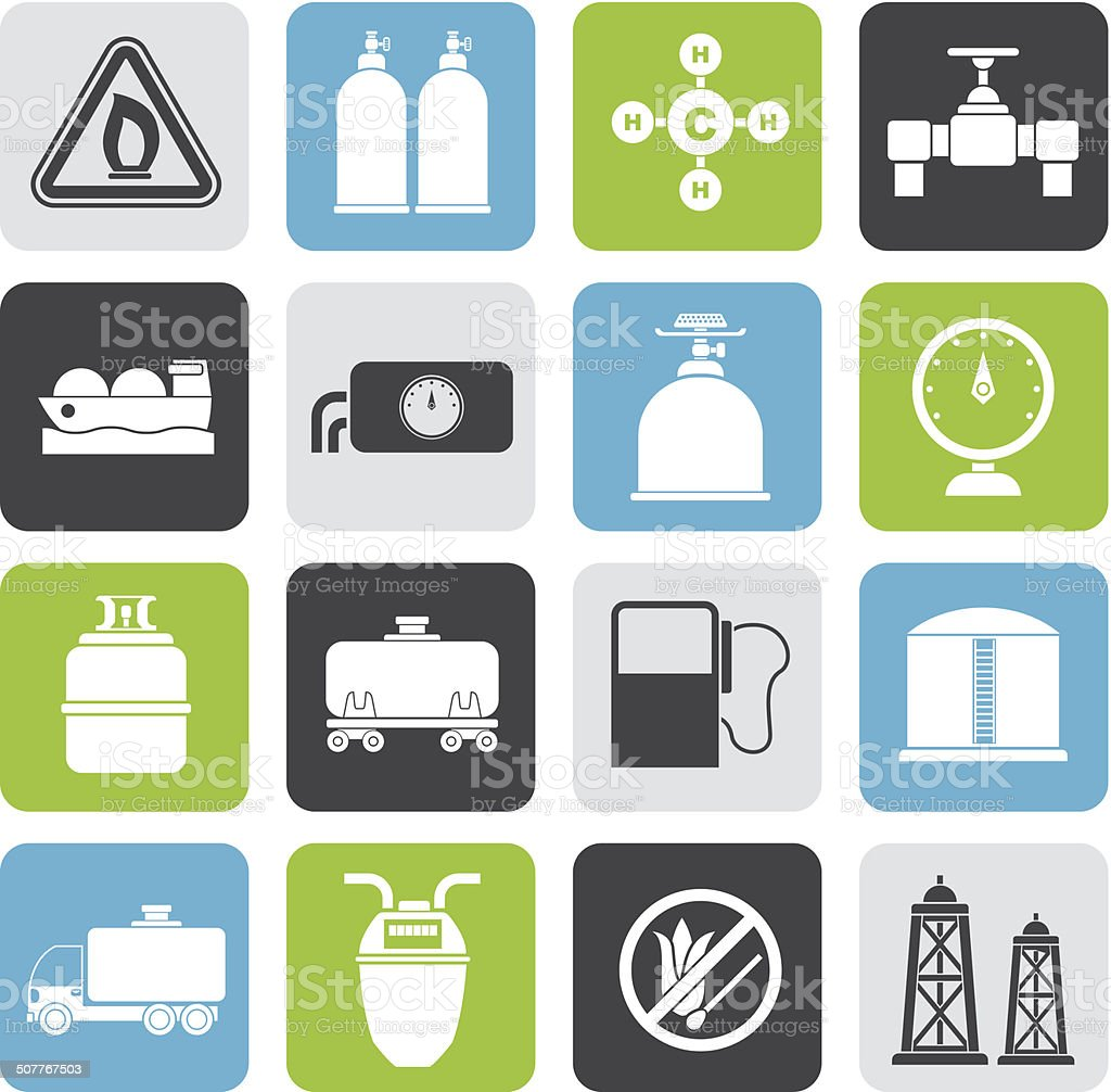 Silhouette Natural gas objects and icons vector art illustration